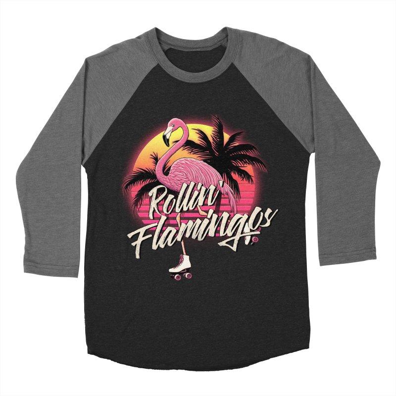 Rollin' Flamingos Men's Baseball Triblend T-Shirt by Victor Calahan