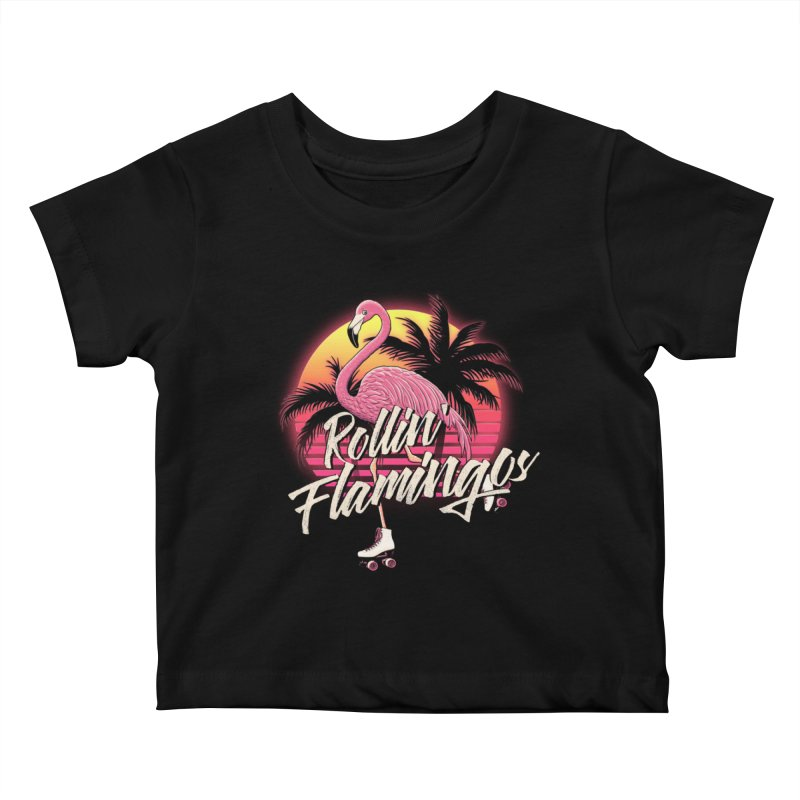 Rollin' Flamingos Kids Baby T-Shirt by Victor Calahan