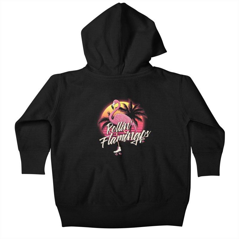 Rollin' Flamingos Kids Baby Zip-Up Hoody by Victor Calahan