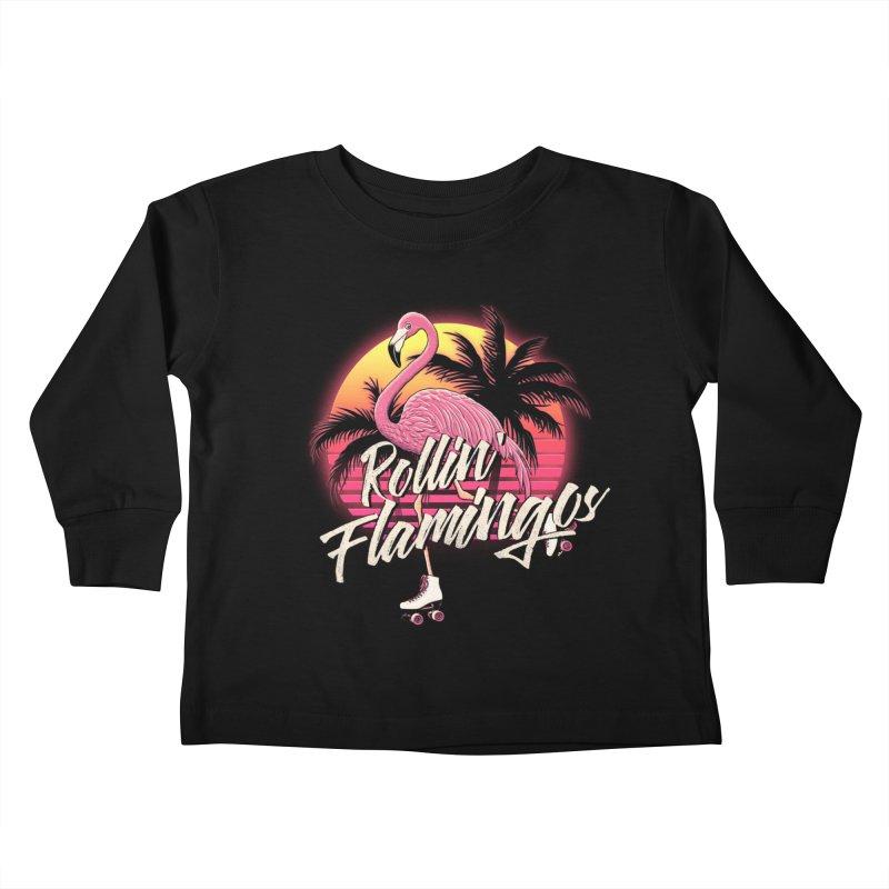 Rollin' Flamingos Kids Toddler Longsleeve T-Shirt by Victor Calahan
