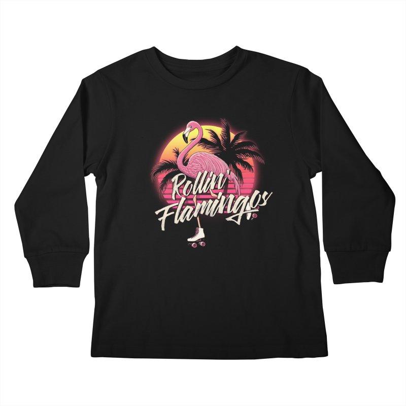 Rollin' Flamingos Kids Longsleeve T-Shirt by Victor Calahan
