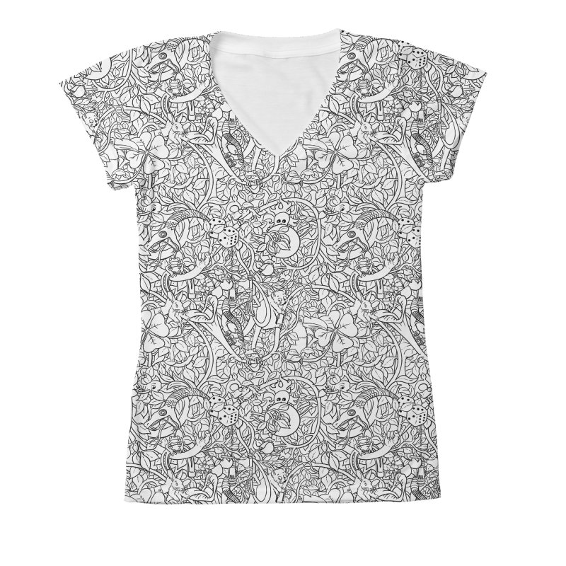Mojo Jungle Women's V-Neck All Over Print by Victor Calahan