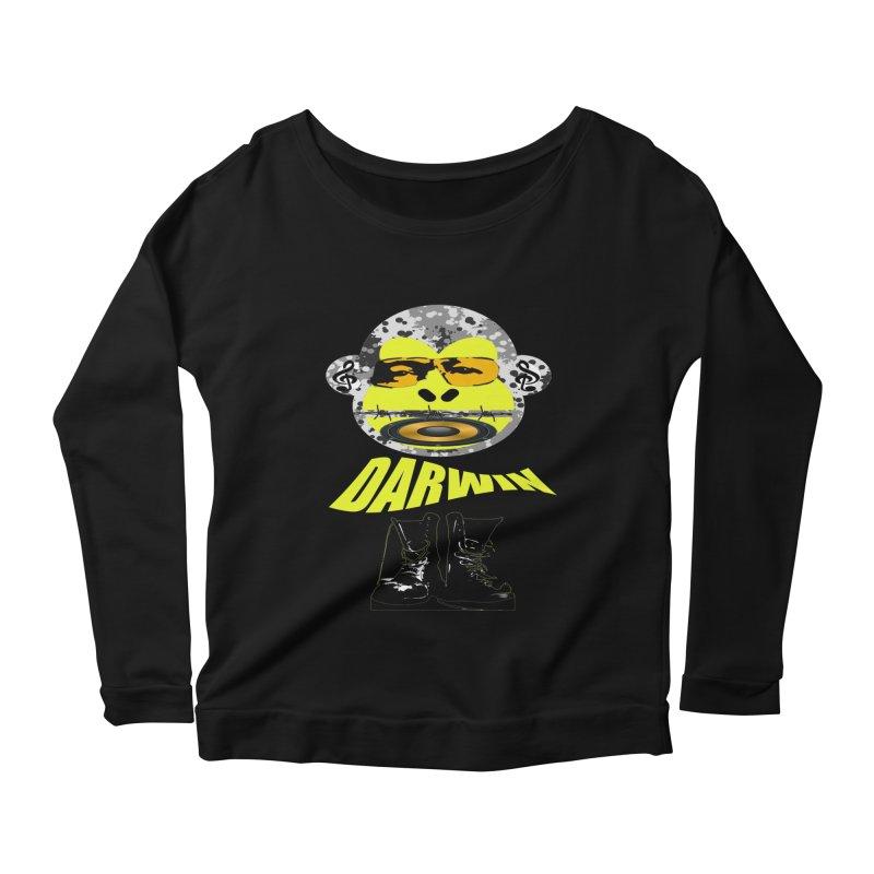 Darwin Monkey Women's Longsleeve Scoopneck  by View From Brooklyn T-Shirt Shop