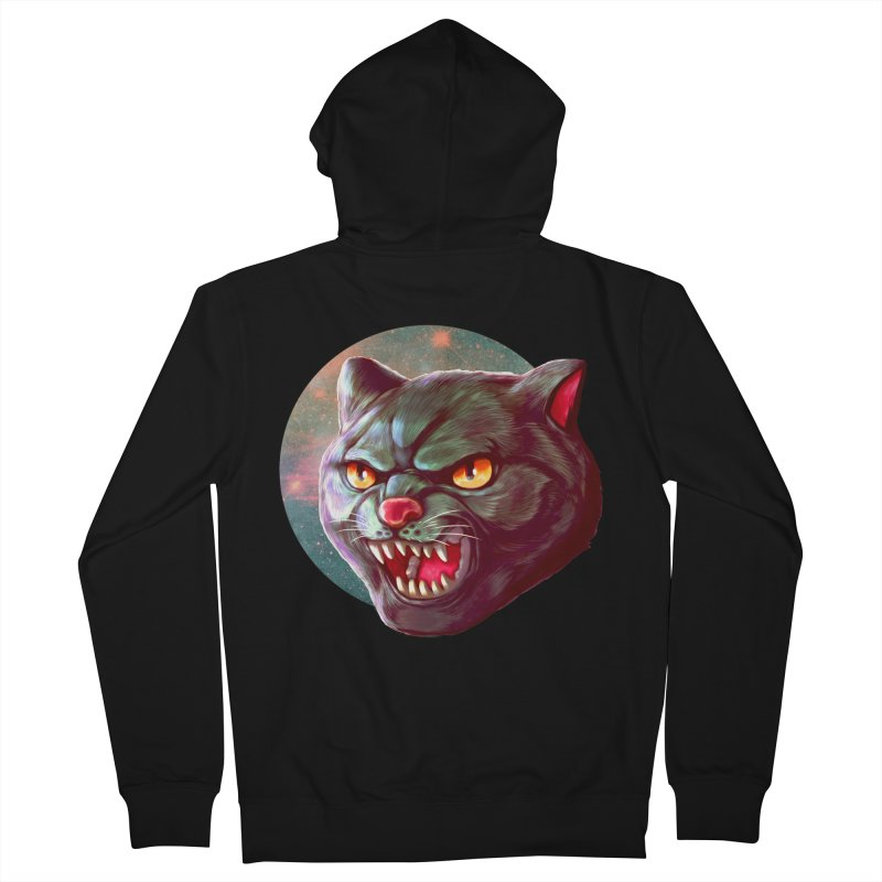 Space Cat Men's French Terry Zip-Up Hoody by villainmazk's Artist Shop