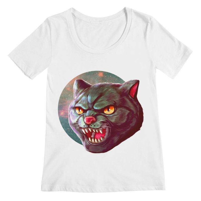 Space Cat Women's Regular Scoop Neck by villainmazk's Artist Shop