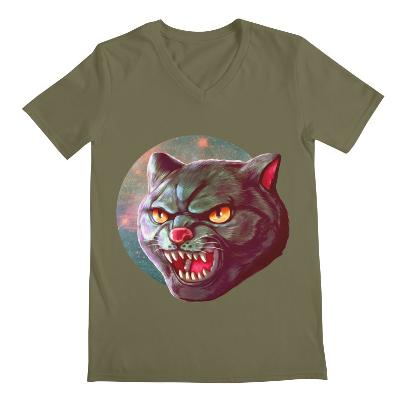 Space Cat Men's Regular V-Neck by villainmazk's Artist Shop