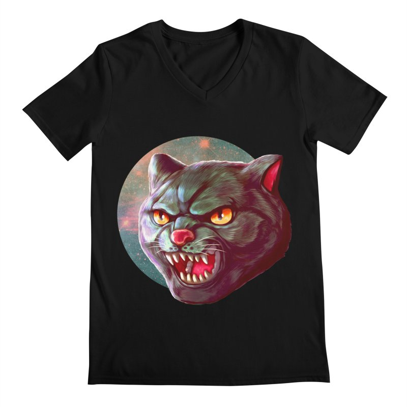 Space Cat Men's Regular V-Neck by villainmazk's Artist Shop