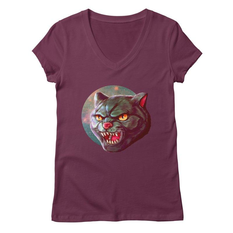 Space Cat Women's Regular V-Neck by villainmazk's Artist Shop