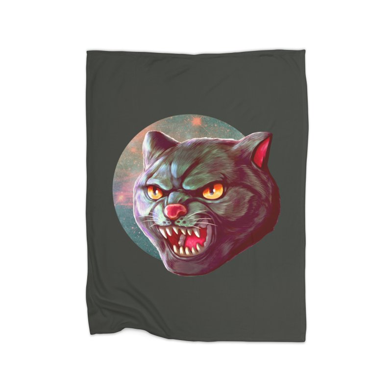 Space Cat Home Fleece Blanket Blanket by villainmazk's Artist Shop