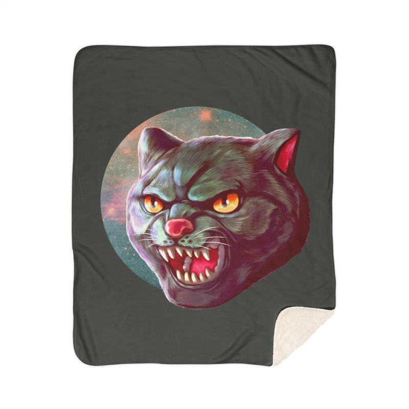 Space Cat Home Sherpa Blanket Blanket by villainmazk's Artist Shop