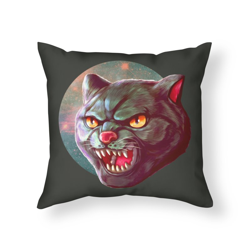 Space Cat Home Throw Pillow by villainmazk's Artist Shop