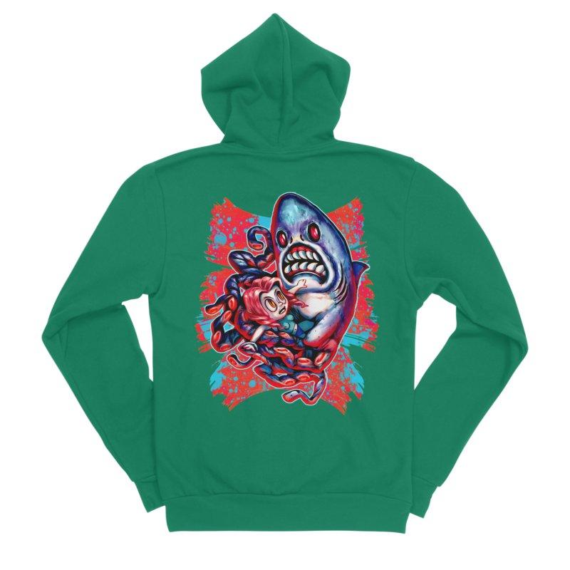 Sharktopus Attack! Women's Sponge Fleece Zip-Up Hoody by villainmazk's Artist Shop