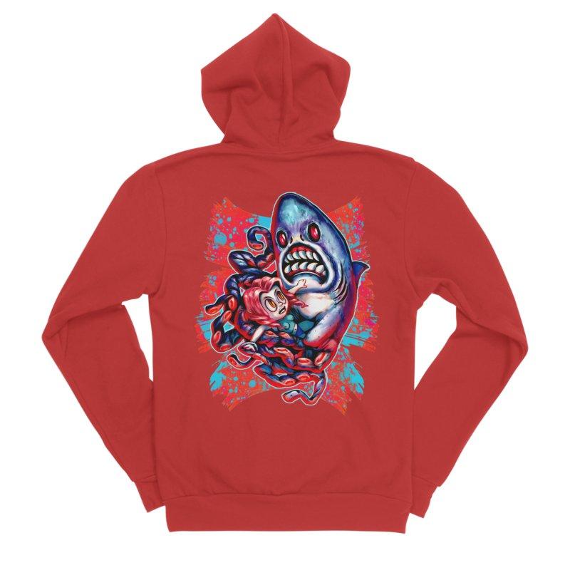 Sharktopus Attack! Men's Sponge Fleece Zip-Up Hoody by villainmazk's Artist Shop