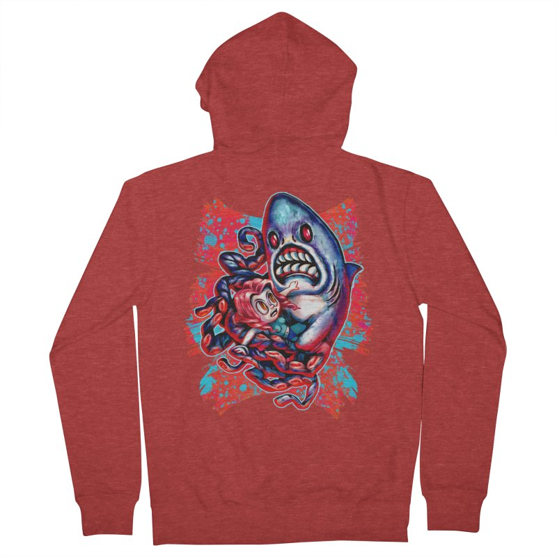 Sharktopus Attack! Women's French Terry Zip-Up Hoody by villainmazk's Artist Shop