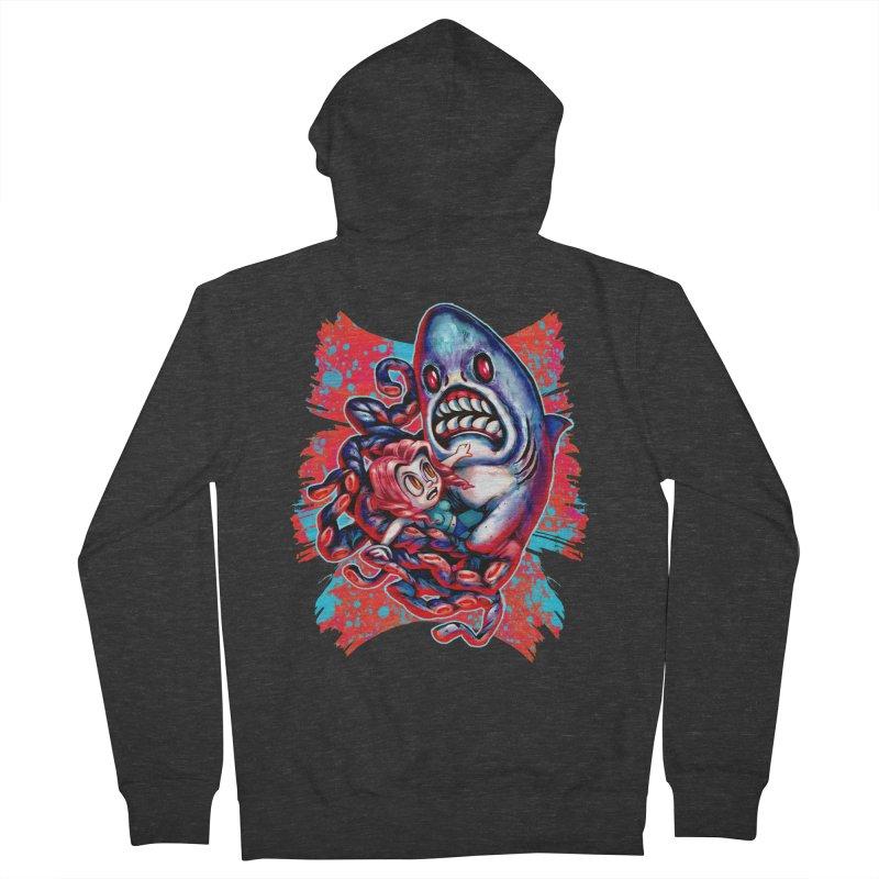 Sharktopus Attack! Men's French Terry Zip-Up Hoody by villainmazk's Artist Shop