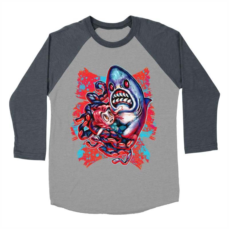 Sharktopus Attack! Men's Baseball Triblend Longsleeve T-Shirt by villainmazk's Artist Shop