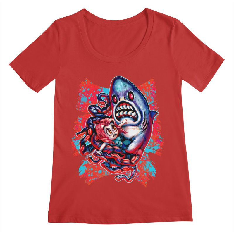 Sharktopus Attack! Women's Regular Scoop Neck by villainmazk's Artist Shop
