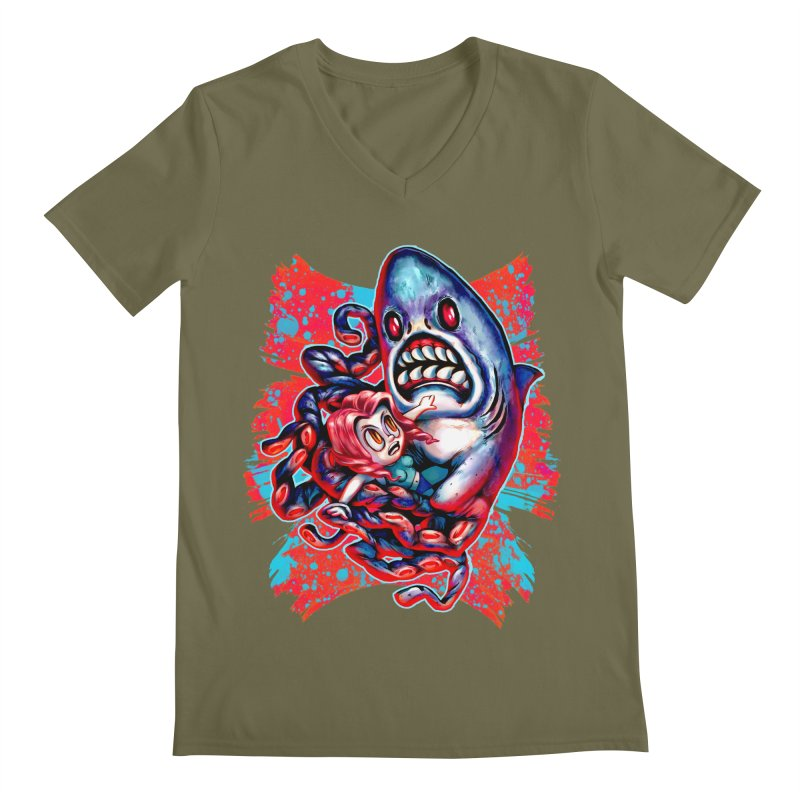 Sharktopus Attack! Men's Regular V-Neck by villainmazk's Artist Shop