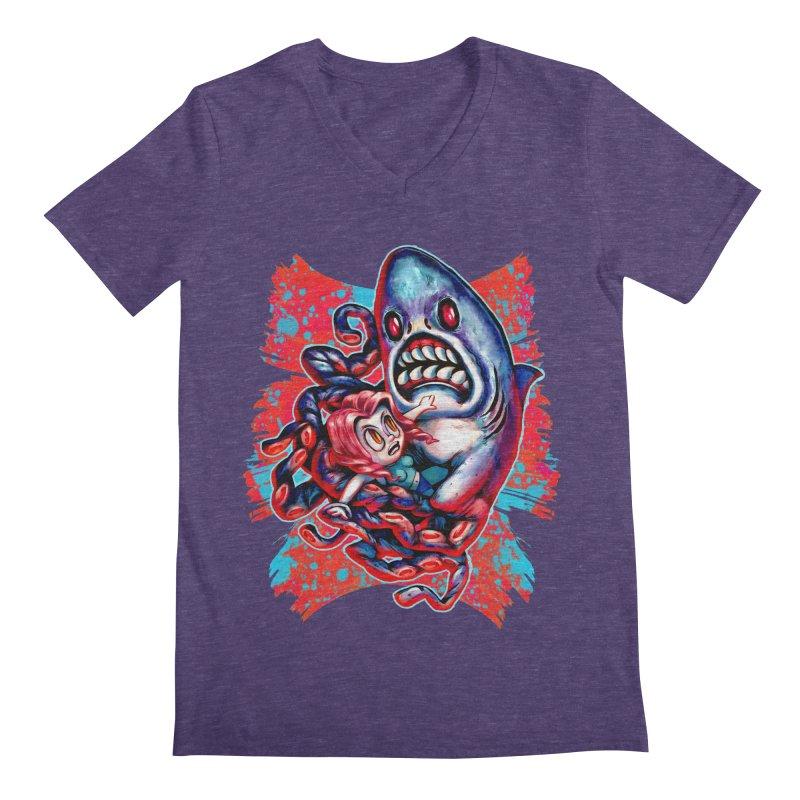 Sharktopus Attack! Men's Regular V-Neck by villainmazk's Artist Shop
