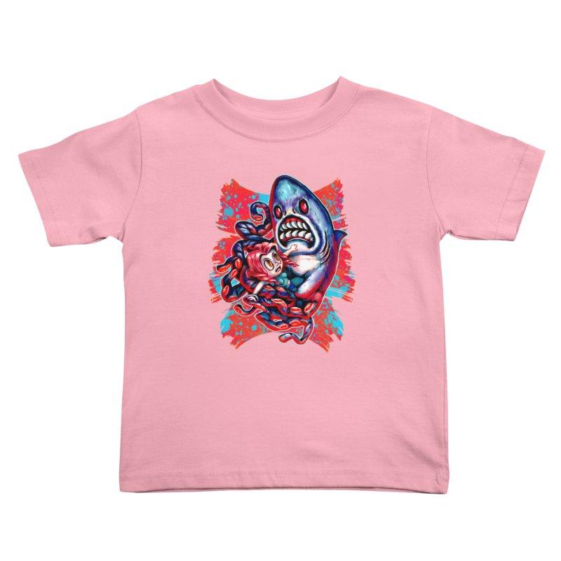 Sharktopus Attack! Kids Toddler T-Shirt by villainmazk's Artist Shop