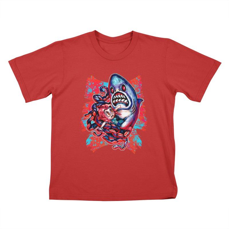 Sharktopus Attack! Kids T-Shirt by villainmazk's Artist Shop