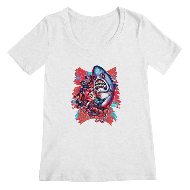 Sharktopus Attack! Women's Regular Scoop Neck by villainmazk's Artist Shop