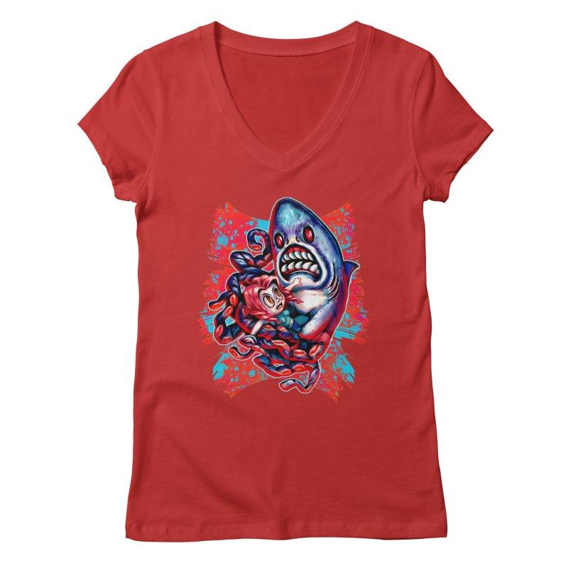 Sharktopus Attack! Women's Regular V-Neck by villainmazk's Artist Shop