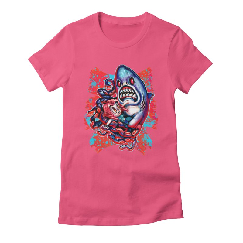 Sharktopus Attack! Women's Fitted T-Shirt by villainmazk's Artist Shop
