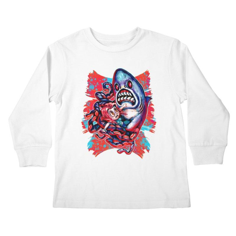 Sharktopus Attack! Kids Longsleeve T-Shirt by villainmazk's Artist Shop