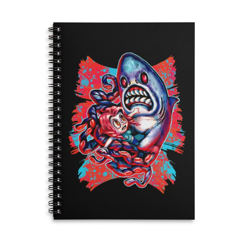 Sharktopus Attack! Accessories Lined Spiral Notebook by villainmazk's Artist Shop