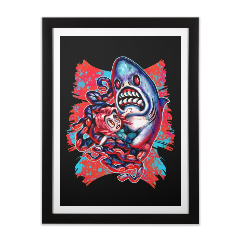 Sharktopus Attack! Home Framed Fine Art Print by villainmazk's Artist Shop