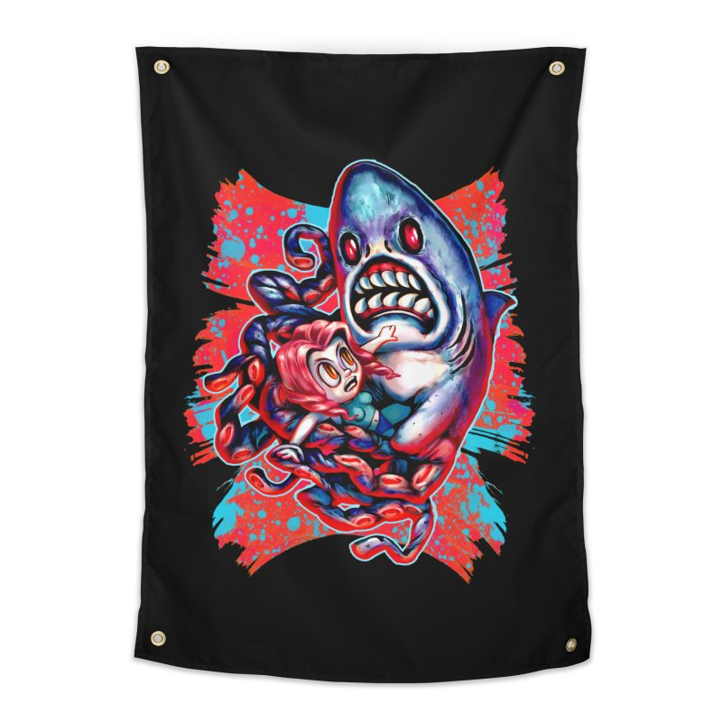 Sharktopus Attack! Home Tapestry by villainmazk's Artist Shop