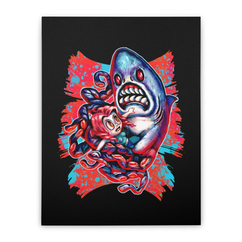 Sharktopus Attack! Home Stretched Canvas by villainmazk's Artist Shop