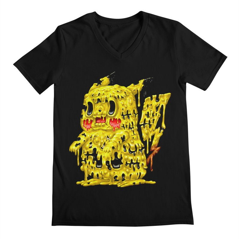 Melting Yellow Monster Men's Regular V-Neck by villainmazk's Artist Shop