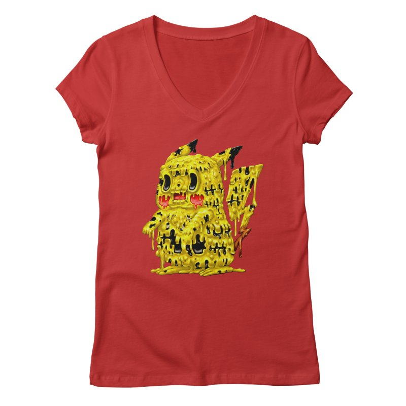 Melting Yellow Monster Women's Regular V-Neck by villainmazk's Artist Shop