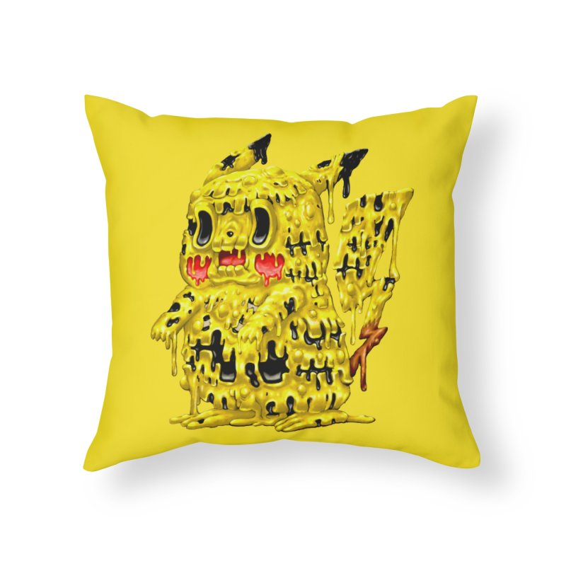 Melting Yellow Monster Home Throw Pillow by villainmazk's Artist Shop