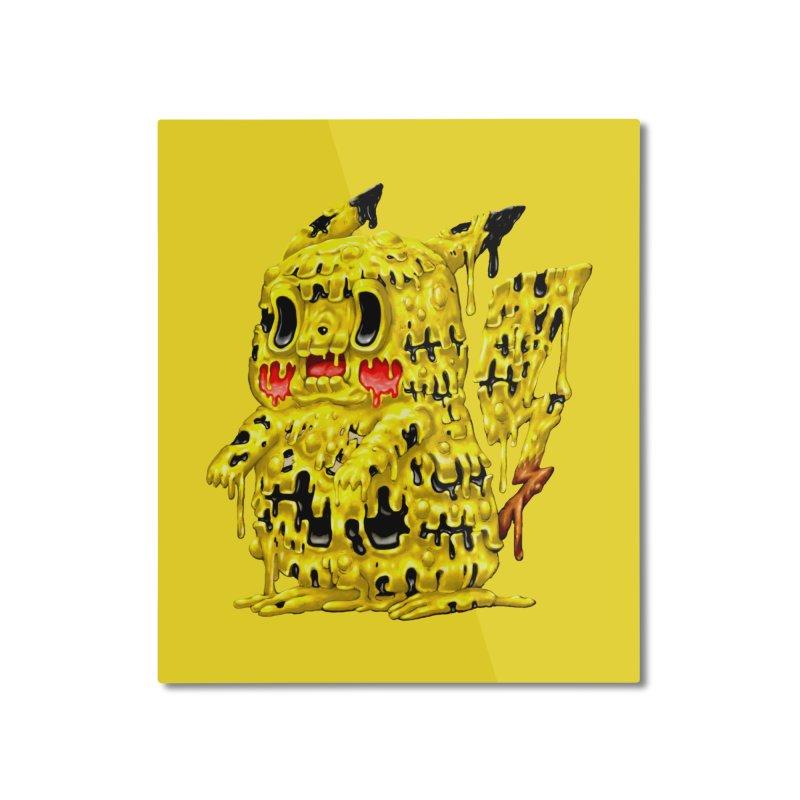 Melting Yellow Monster Home Mounted Aluminum Print by villainmazk's Artist Shop