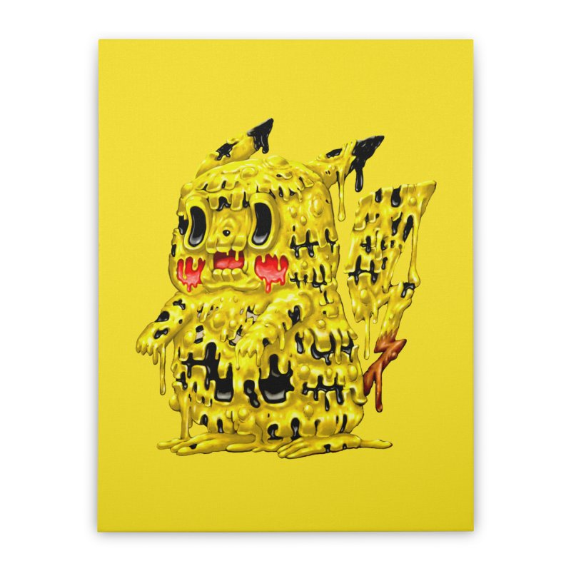 Melting Yellow Monster Home Stretched Canvas by villainmazk's Artist Shop