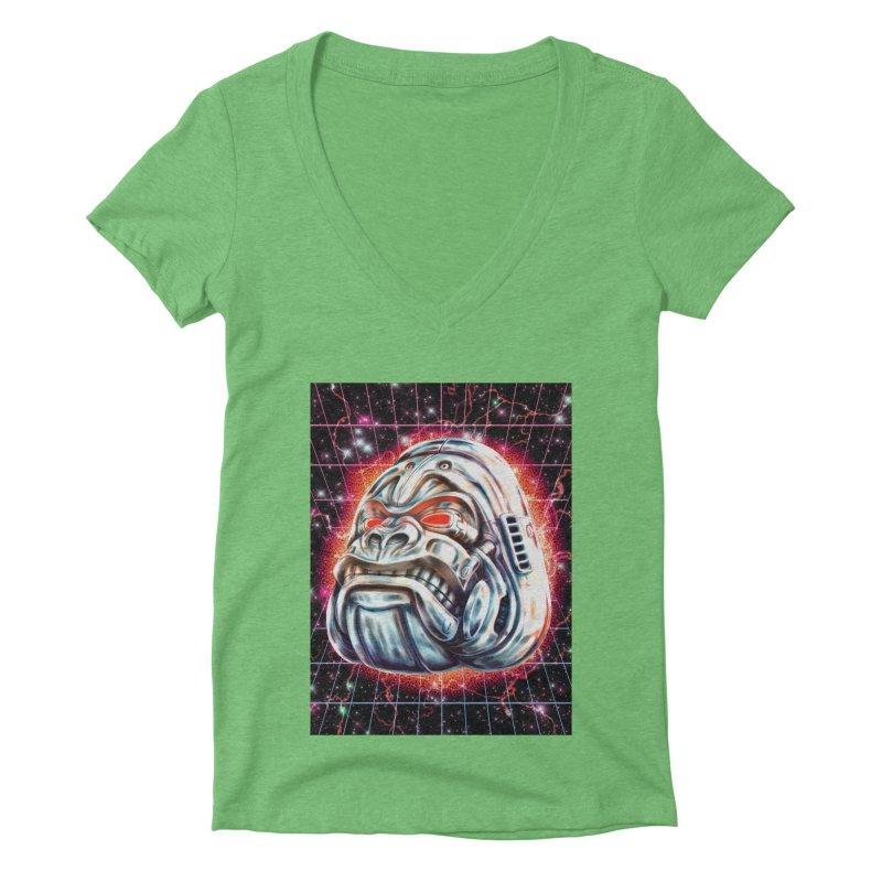 Electric Gorilla Women's Deep V-Neck V-Neck by villainmazk's Artist Shop