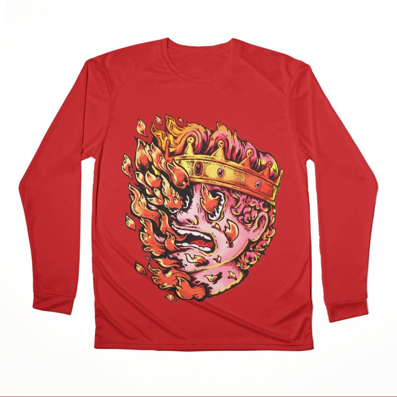 Burning King Men's Performance Longsleeve T-Shirt by villainmazk's Artist Shop