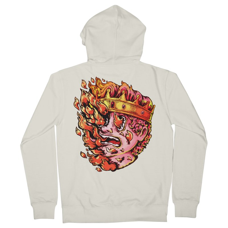 Burning King Men's French Terry Zip-Up Hoody by villainmazk's Artist Shop