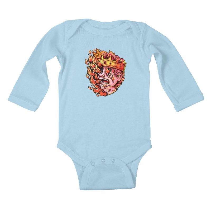 Burning King Kids Baby Longsleeve Bodysuit by villainmazk's Artist Shop