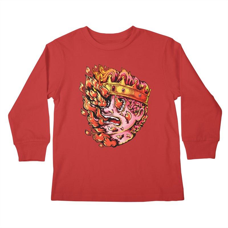 Burning King Kids Longsleeve T-Shirt by villainmazk's Artist Shop