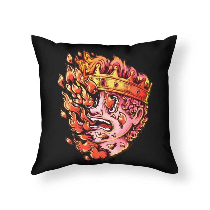 Burning King Home Throw Pillow by villainmazk's Artist Shop