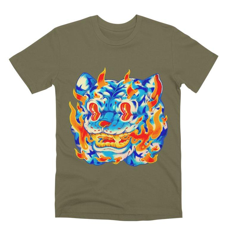 Frost Flame Tiger Men's Premium T-Shirt by villainmazk's Artist Shop