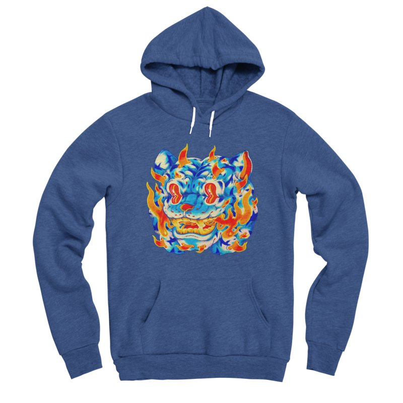 Frost Flame Tiger Men's Sponge Fleece Pullover Hoody by villainmazk's Artist Shop