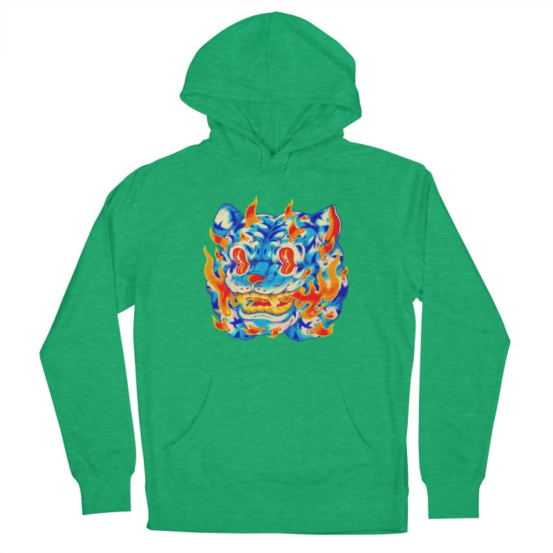 Frost Flame Tiger Women's French Terry Pullover Hoody by villainmazk's Artist Shop