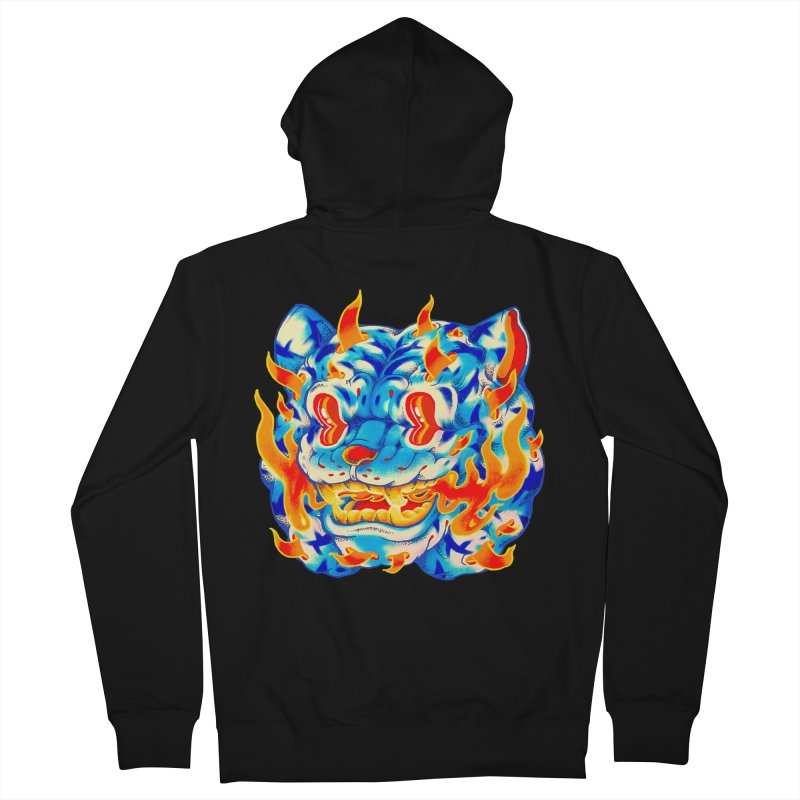 Frost Flame Tiger Women's French Terry Zip-Up Hoody by villainmazk's Artist Shop