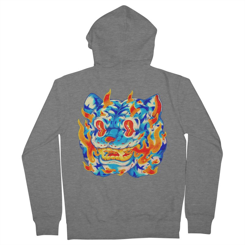 Frost Flame Tiger Men's French Terry Zip-Up Hoody by villainmazk's Artist Shop