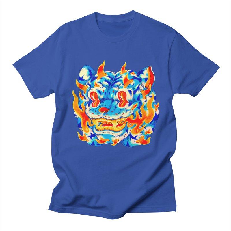 Frost Flame Tiger in Men's Regular T-Shirt Royal Blue by villainmazk's Artist Shop